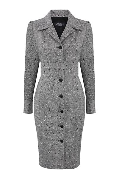 Black/White Herringbone Coat Dress - Rosie