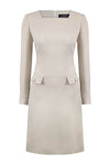 Midi length button through summer dress in biscuit linen mix - Nina