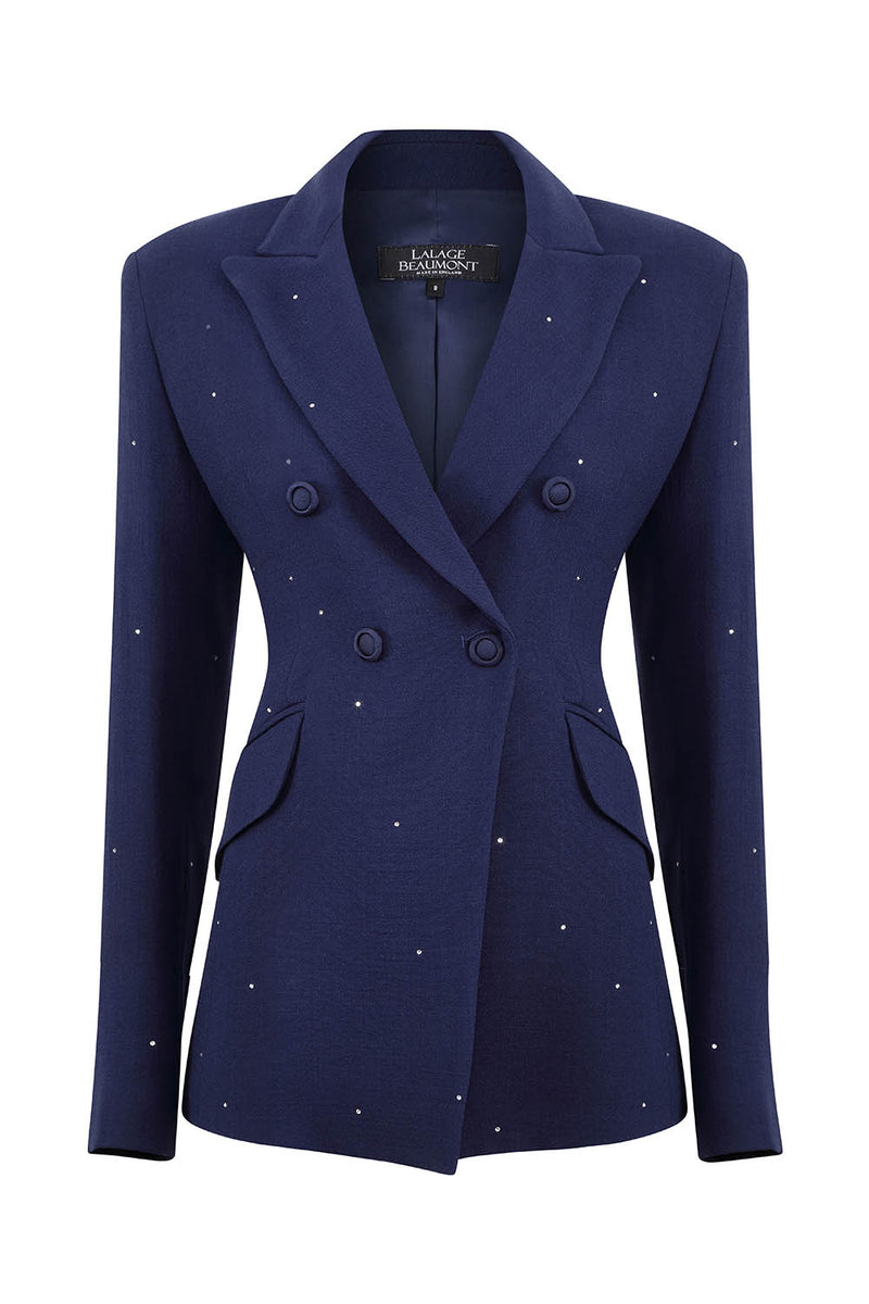 Navy Crystals Jacket - Imogen
