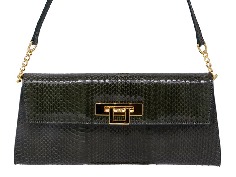Fonteyn Clutch Snake Skin Leather Handbag - Olive