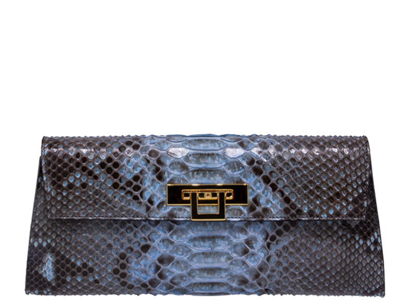 Fonteyn Clutch Python Skin Leather Handbag - Celadon