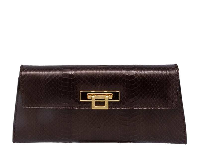 Fonteyn Clutch Snakeskin Handbag - Metallic Brown