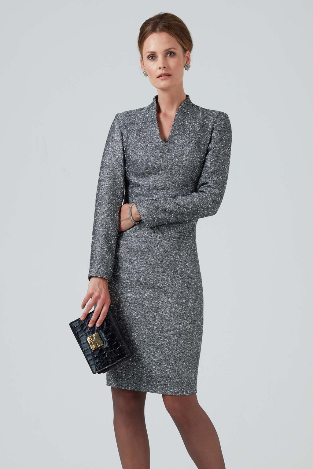 Silver textured dress in light weight tweed - Emma