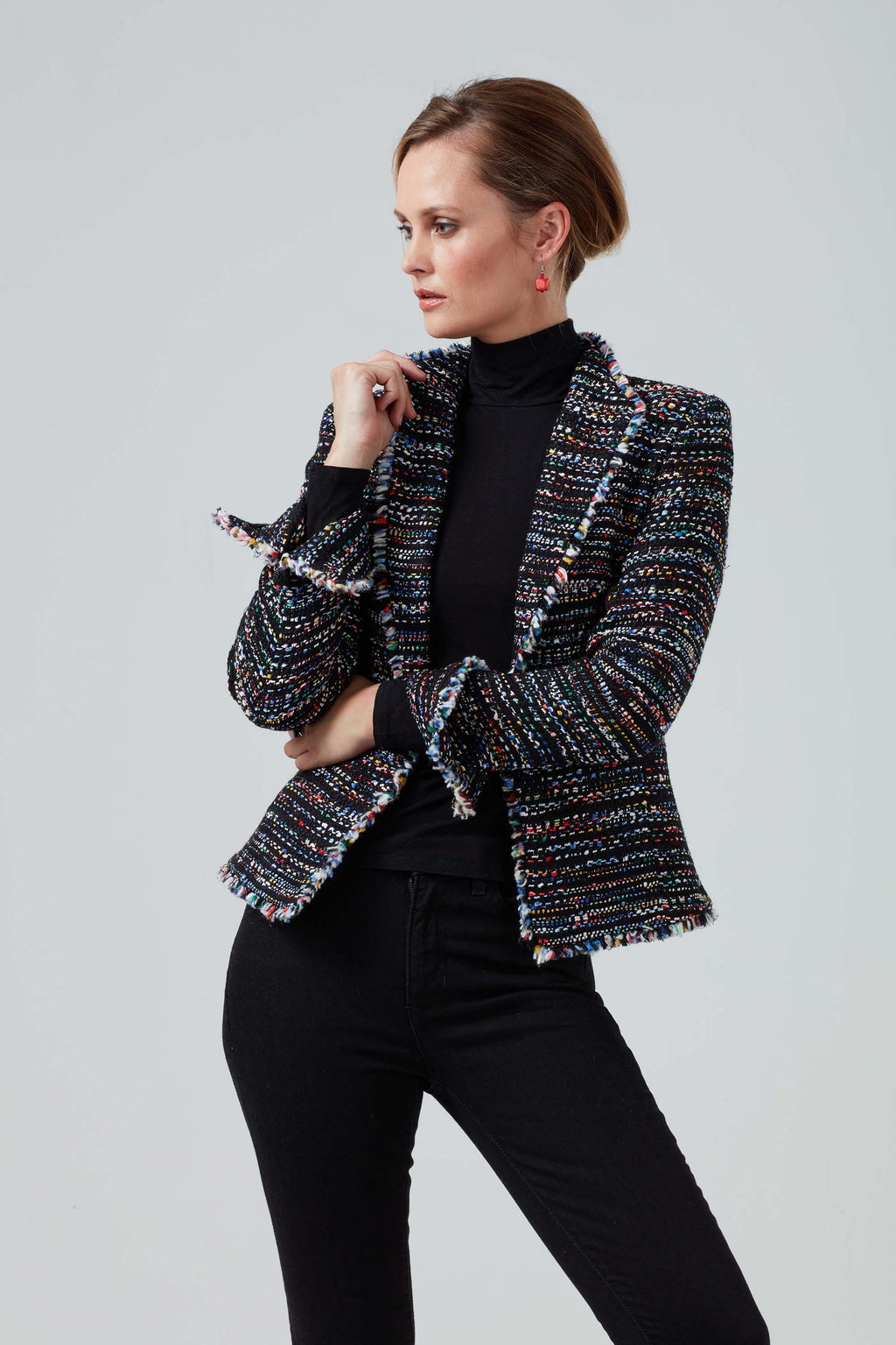 Black and multi - coloured fringe edged jacket  - Daphne