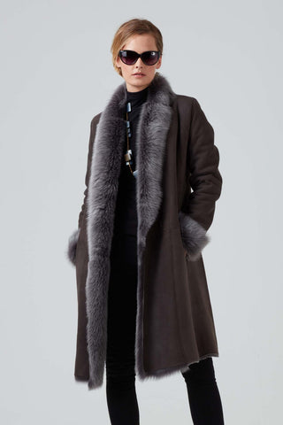 Reversible Cocoon Shape Shearling Coat Zermatt