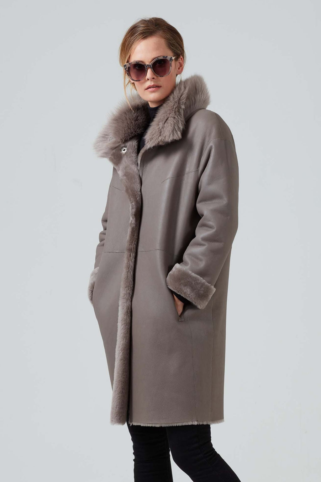 Women's lambskin grey coat