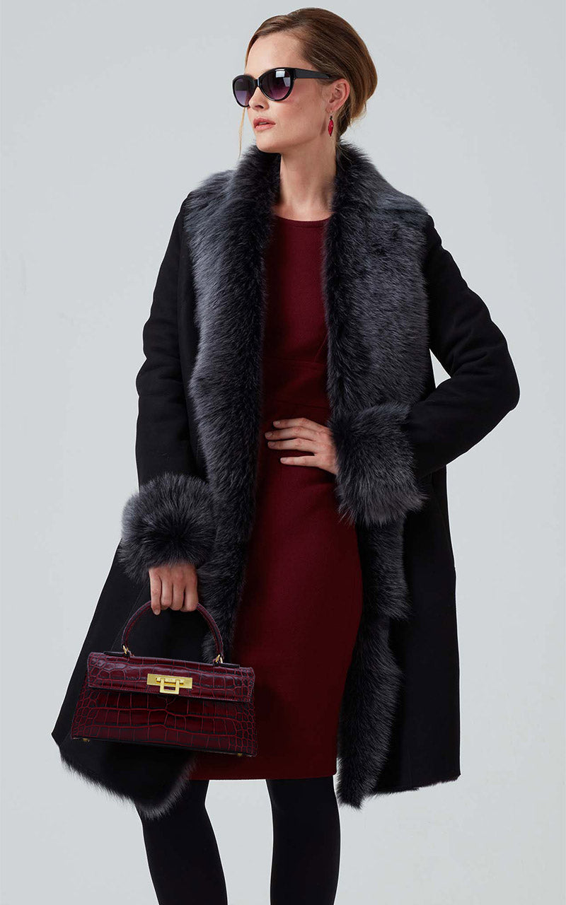 Shearling knee length coat with Toscana edging (sheepskin) - St. Moritz - Black