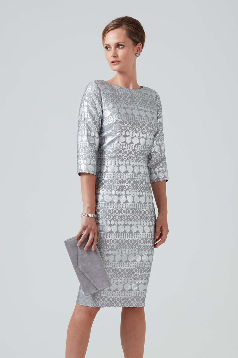 Graphite silver geometric jacquard dress - Angela