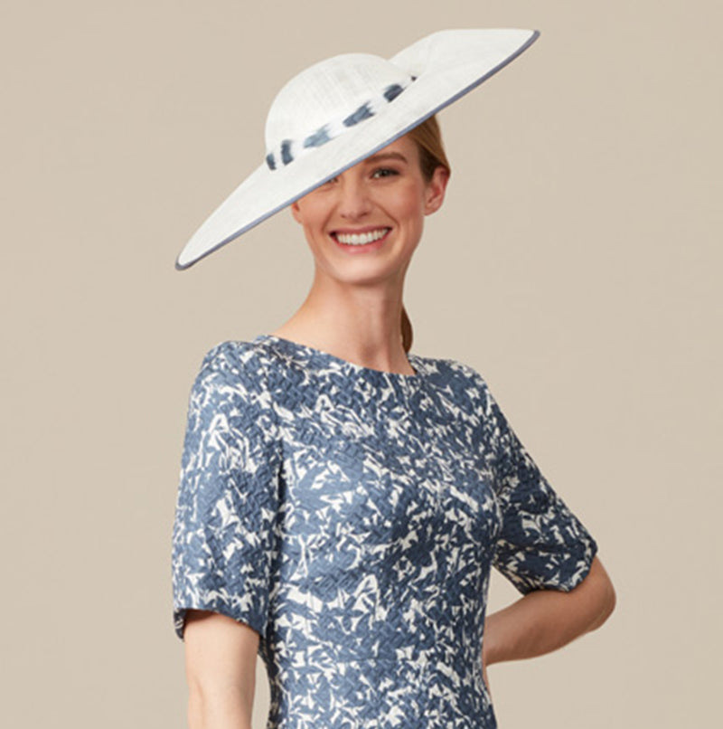Wide Brimmed Ivory hat with slate grey trim - Romilly