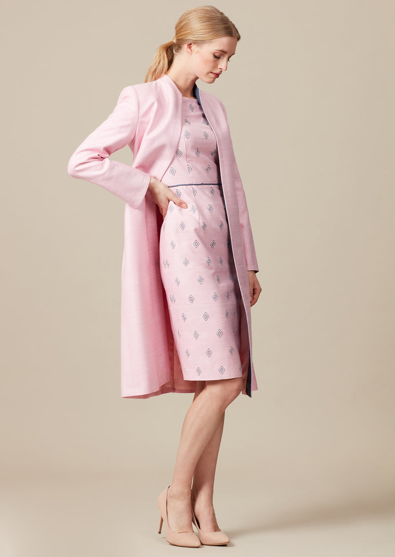 Elegant Dress-coat in candy pink and slate grey with matching dress for mothers of the bride