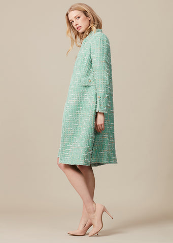 Blue/White/Sky Check Tweed Long Jacket - Iona