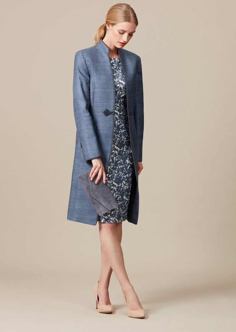 Elegant dark blue mother of the bride outfit