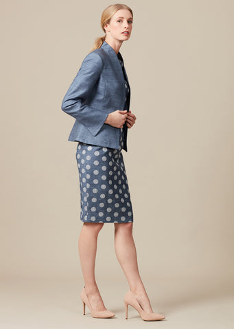 Navy/Ivory Tweed Check skirt - Penny