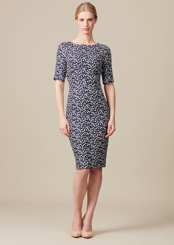 Navy and Ivory Print Dress with Sleeves - Tilda