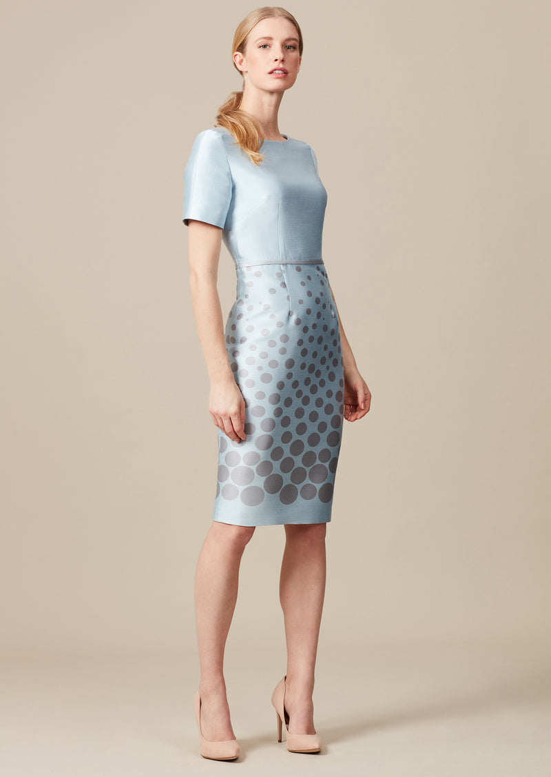 Dress with graduated silver dots on sky blue silk sateen.