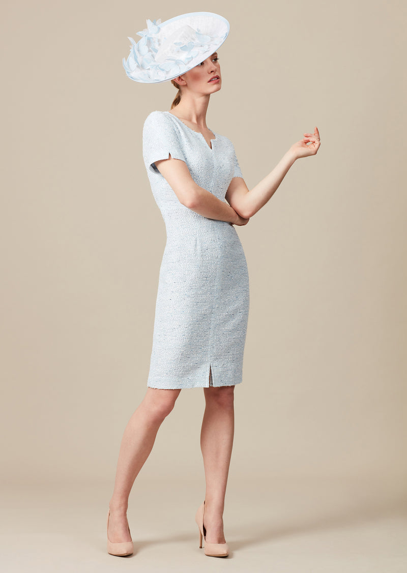 Sky blue tweed mother of the bride dress with V-neck detail and short sleeves