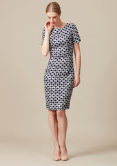 Tweed knee-length dress with short sleeves for business women