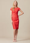 Plain scarlet panelled dress with back V neck in raw silk summer tweed