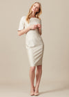 Knee-length, pencil-style dress in vanilla coloured silk mix for mother of the bride