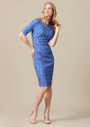 Matelassé knee-length pencil style blue print dress with leaf print, elbow-length sleeves and high neckline