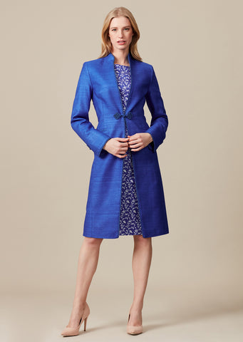 Pale Blue Short Edge-to-Edge Silk Jacket - Margo