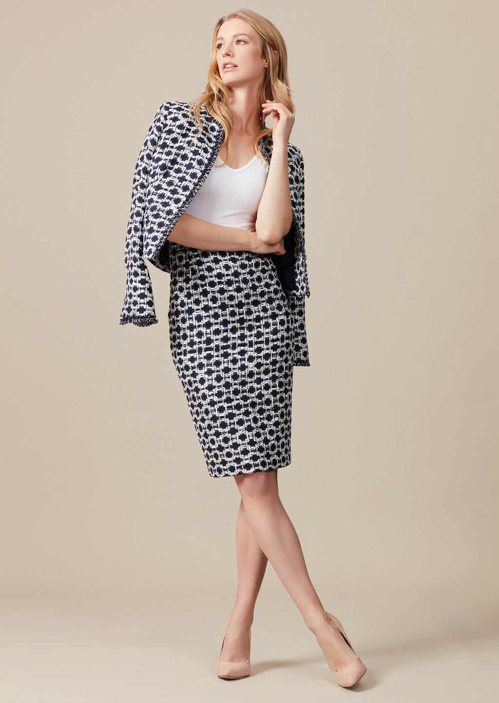 Navy/Ivory Tweed Check pencil skirt designer workwear for women