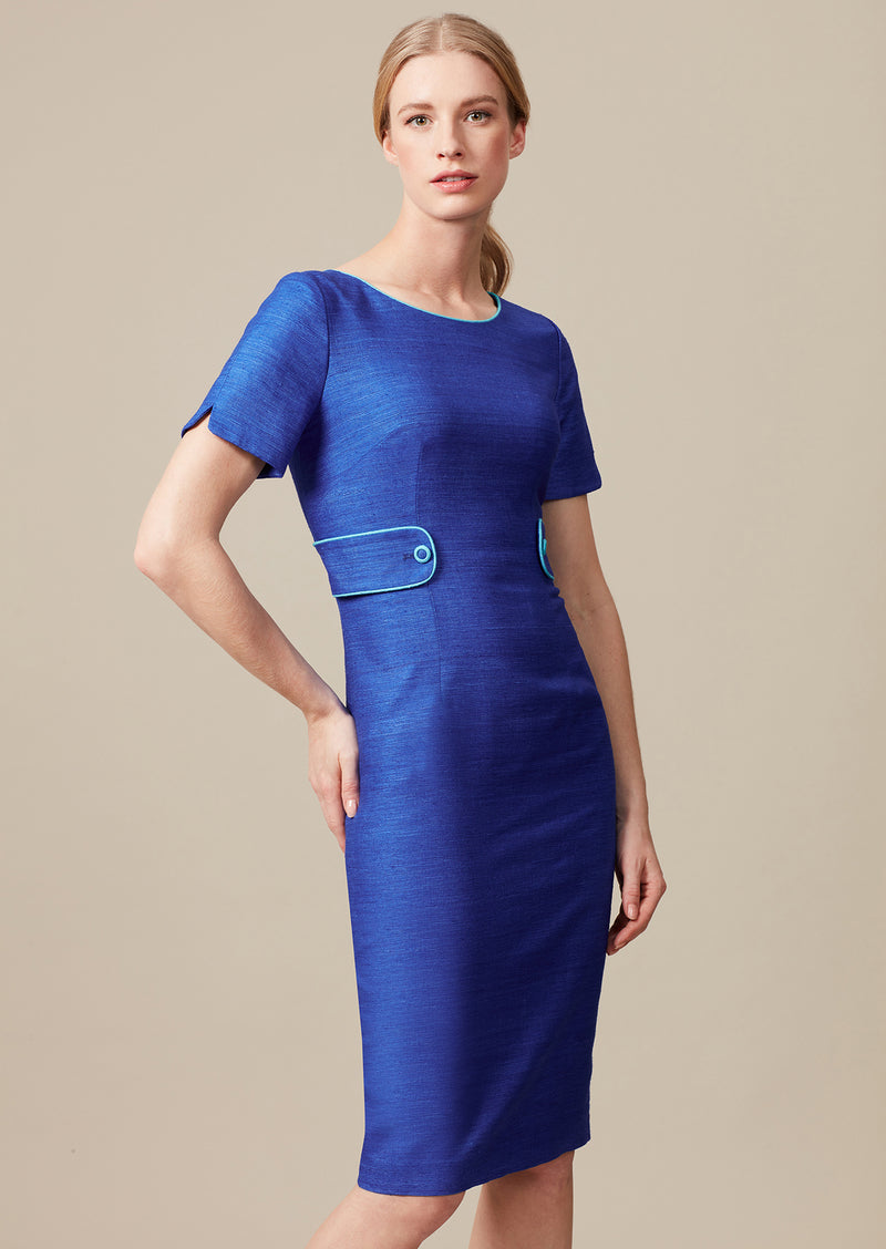 sapphire raw silk dress for special occasions and weddings