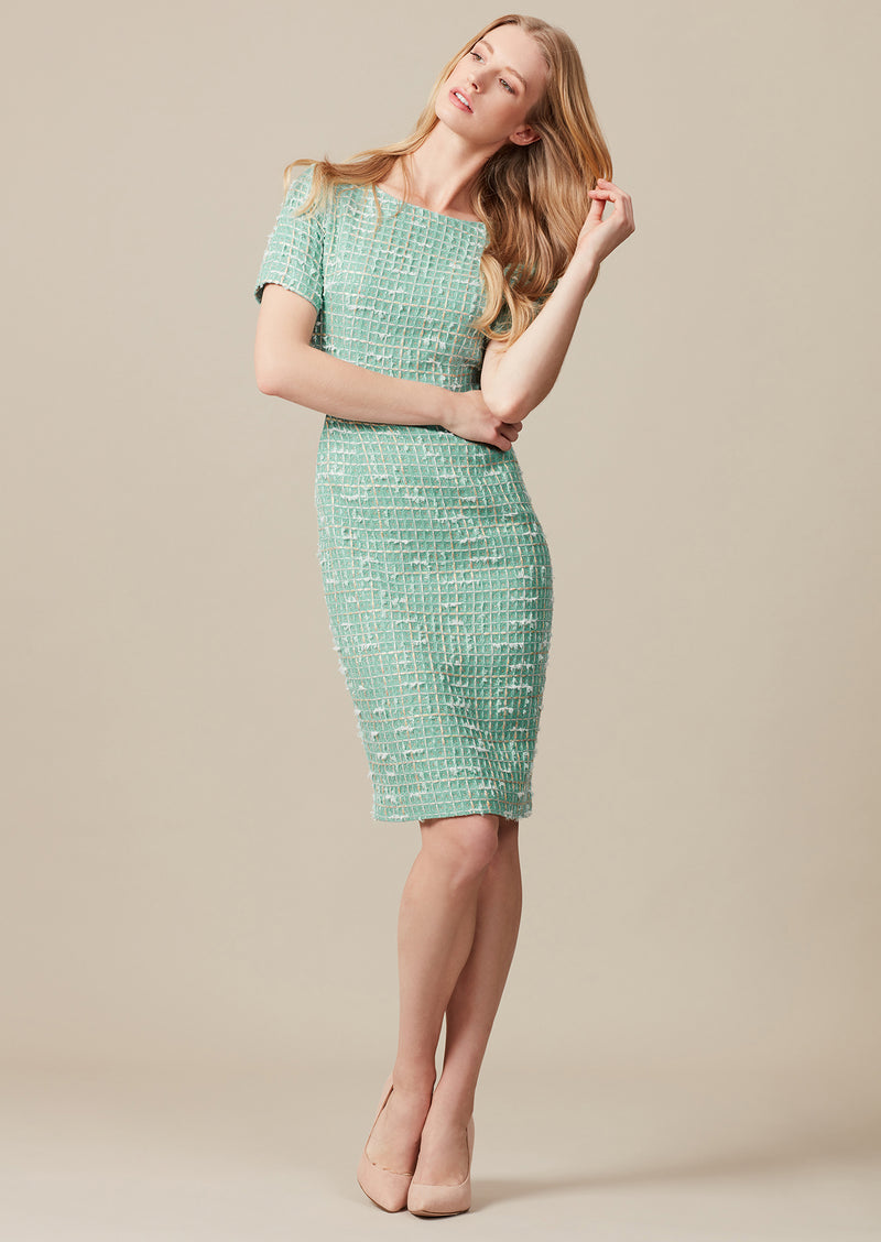 Tweed knee-length dress with short sleeves with matching jacket for weddings and special occasions