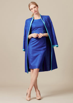 Sapphire/Turquoise Plain Raw Silk Dress Coat and outfit for mother of the brides