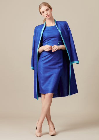 Candy/Slate Plain Raw Silk Coat - Leila