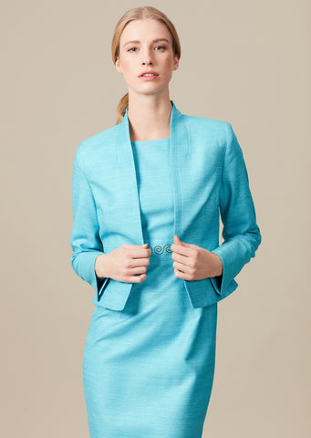 Sleeveless Turquoise raw silk dress with embroidered swirl waistband - Aude