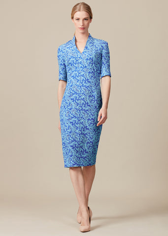 Navy/Ivory print dress in Matelassé - Angie