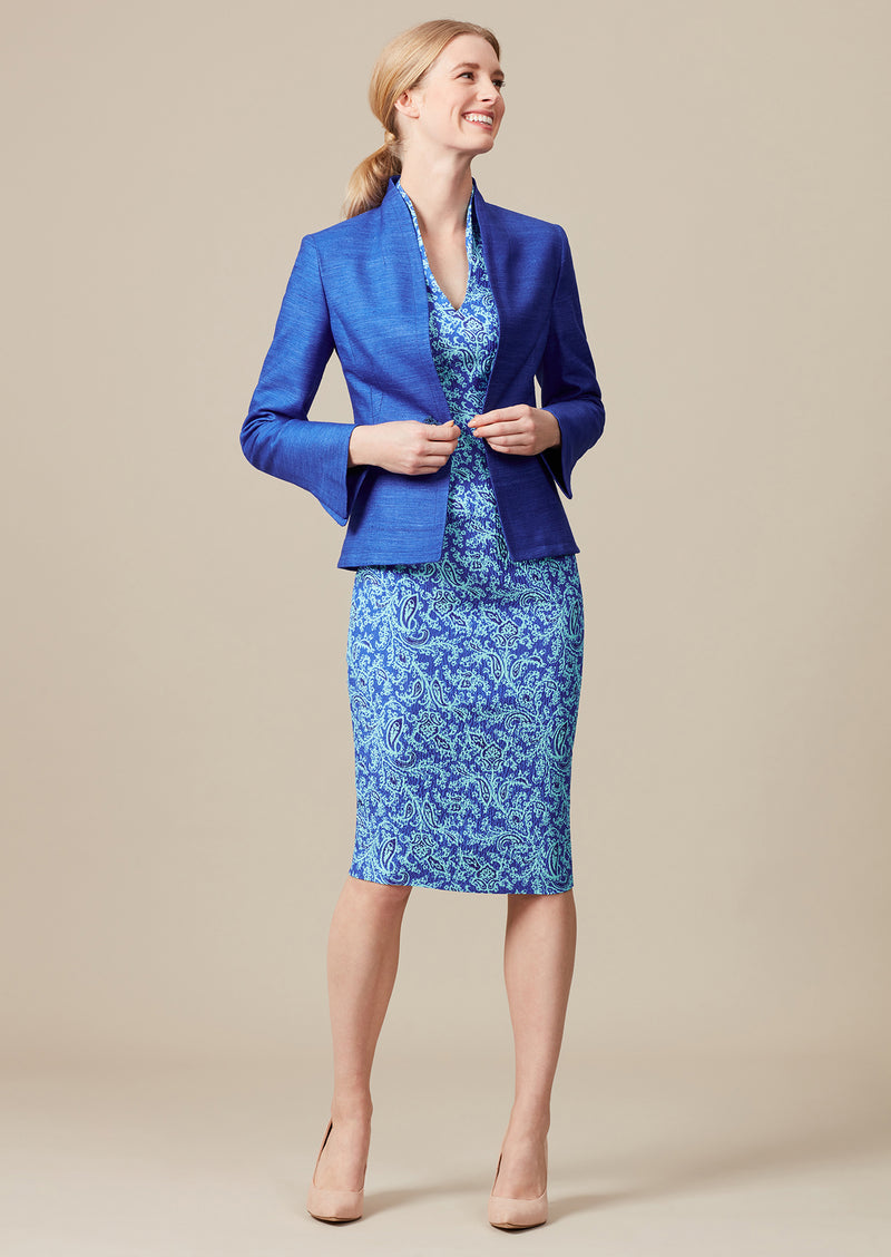 matching dress and jacket for weddings in sapphire