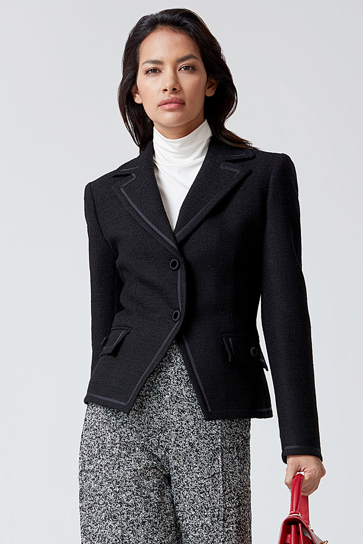 Black Plain Tweed Jacket - Ingrid