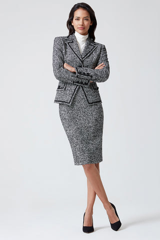 Navy and burgundy tweed pencil skirt - Penny