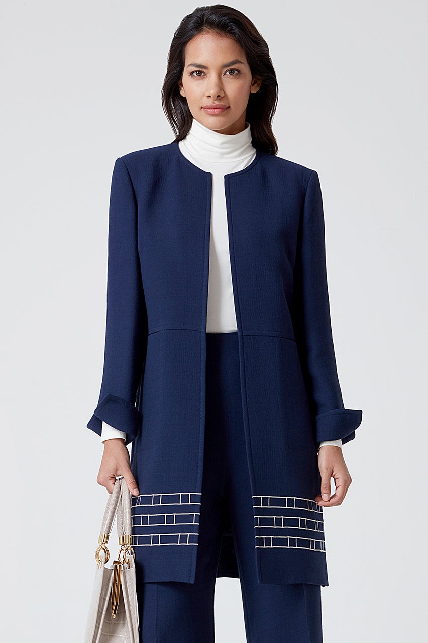 Navy Embroidered Faille Long Jacket - Iona