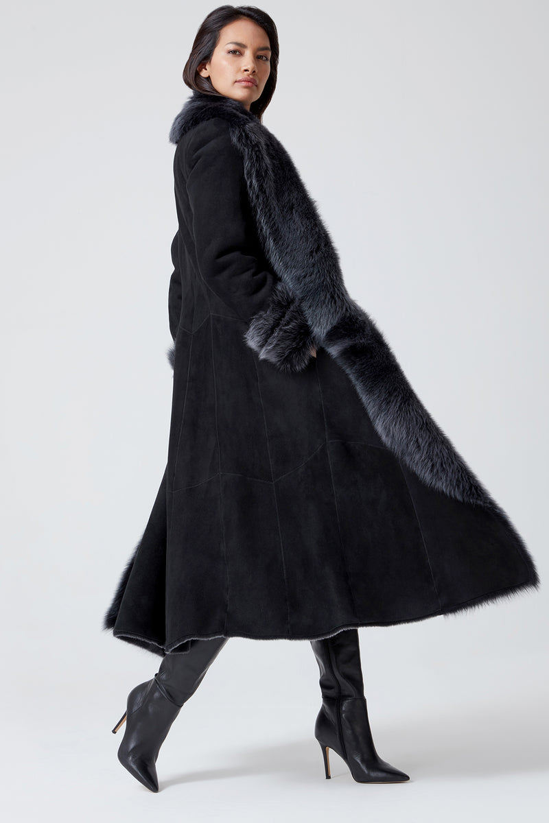Maxi Shearling Coat in Black Toscana Sheepskin - Cortina