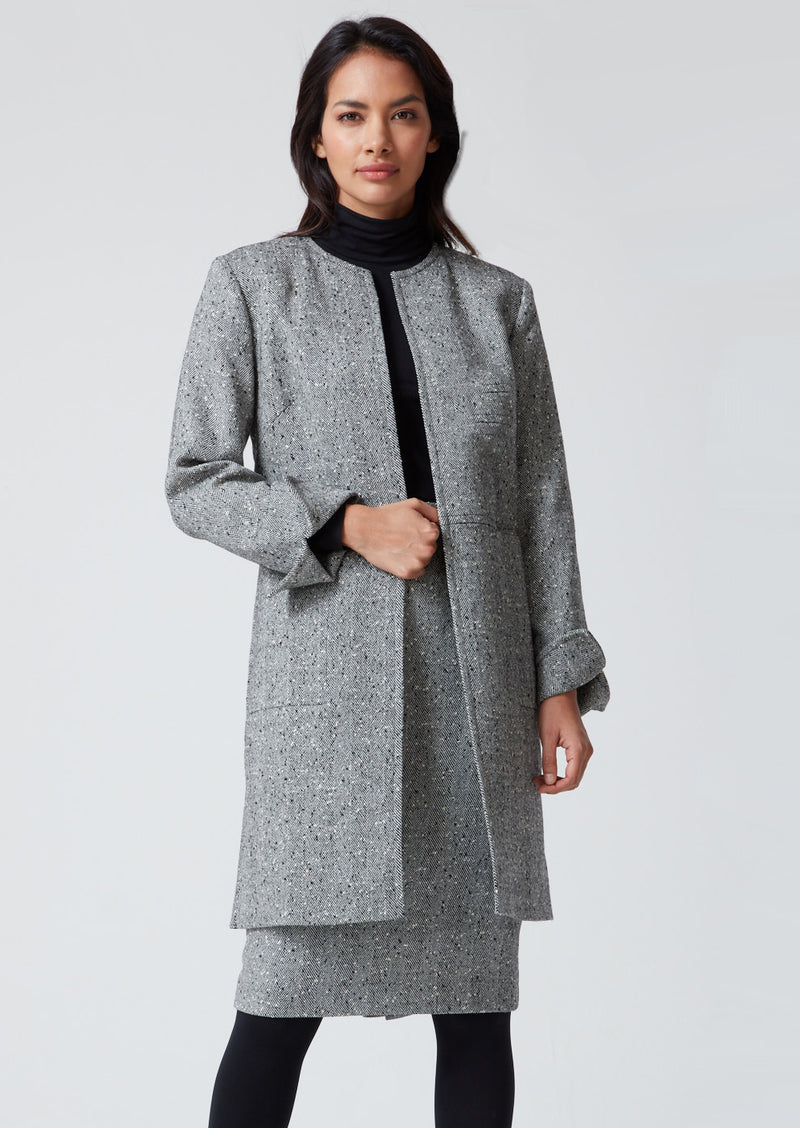Black and White Herringbone Long Jacket - Iona