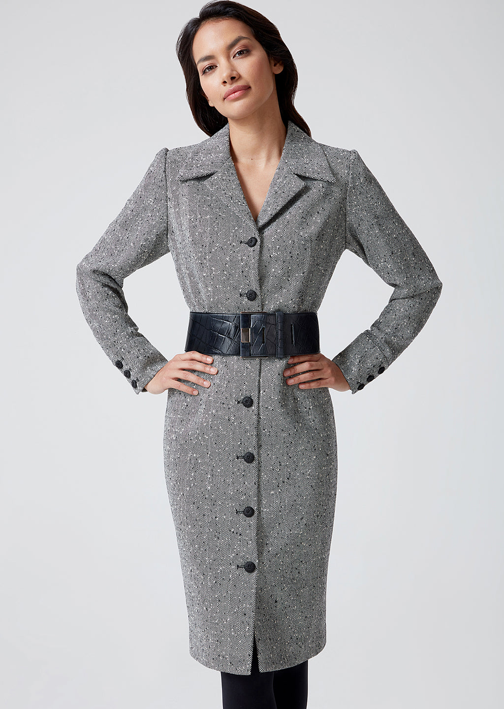 Black and White Herringbone Coat Dress - Rosie