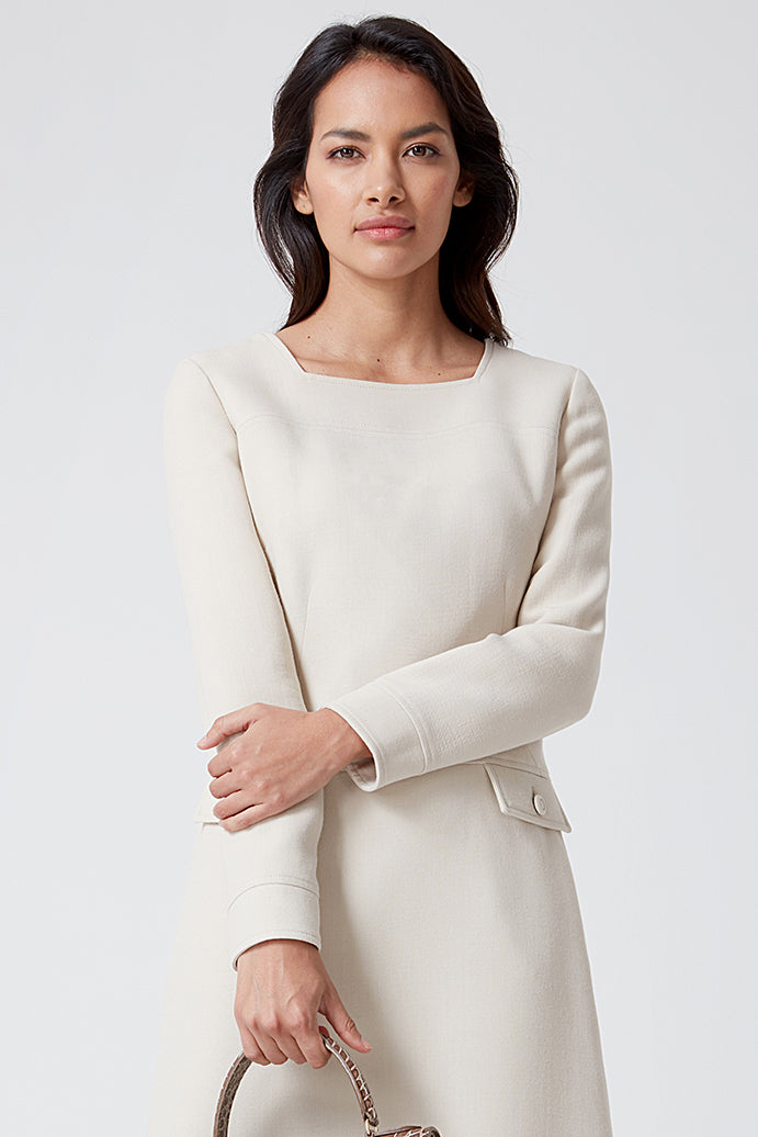 Beige Faille Dress - Tina