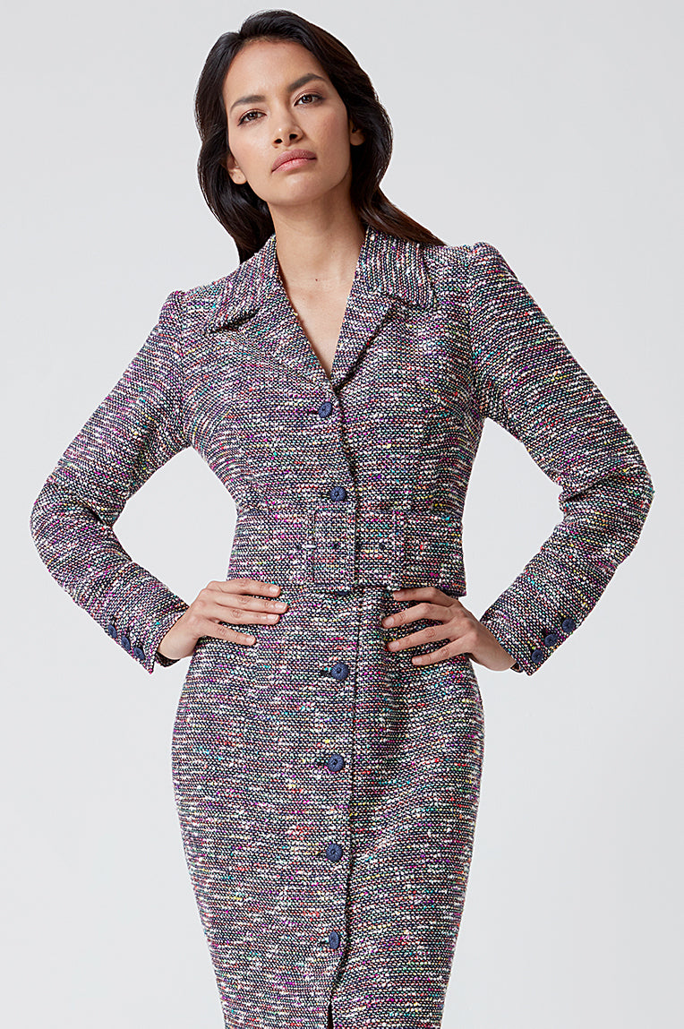 Navy/Multi-Coloured Tweed Coat Dress - Rosie