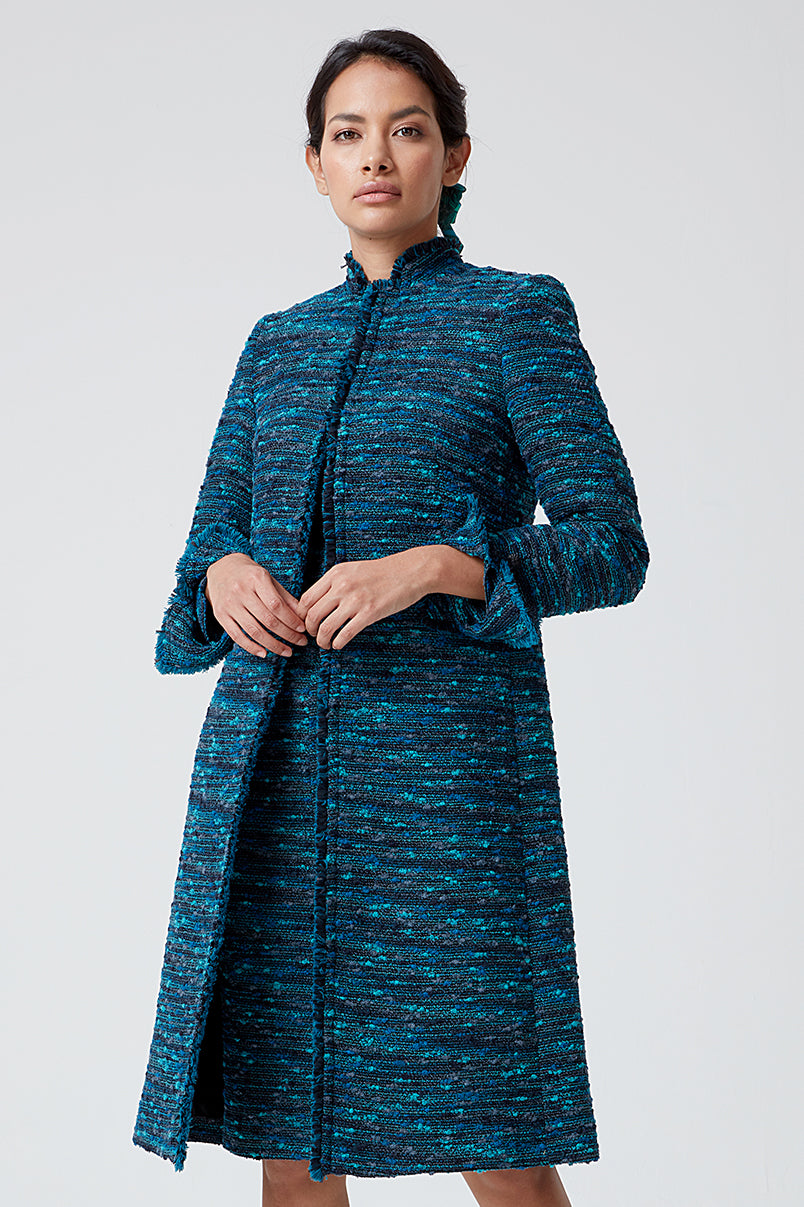 Black and Turquoise Check Tweed Coat - Claire