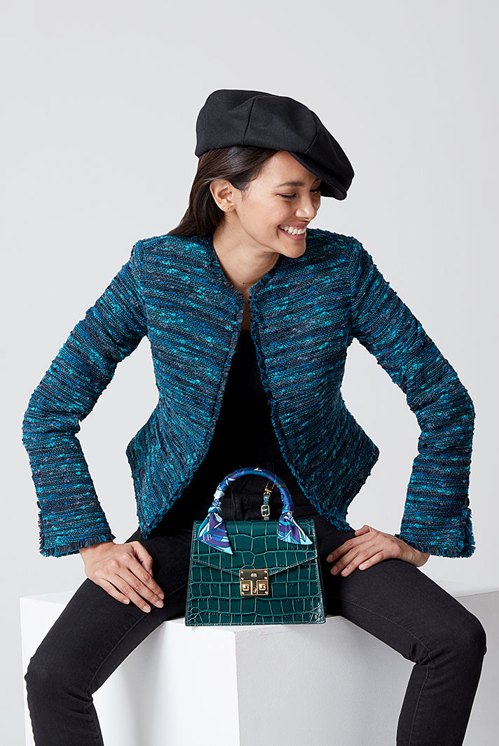 Black and Turquoise Stripe Tweed Jacket - Gina