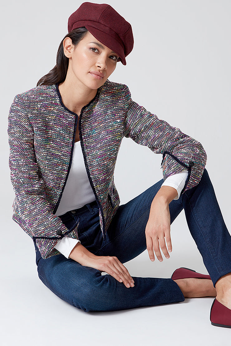 Navy/Multi-Coloured All Over Tweed Jacket - Carrie