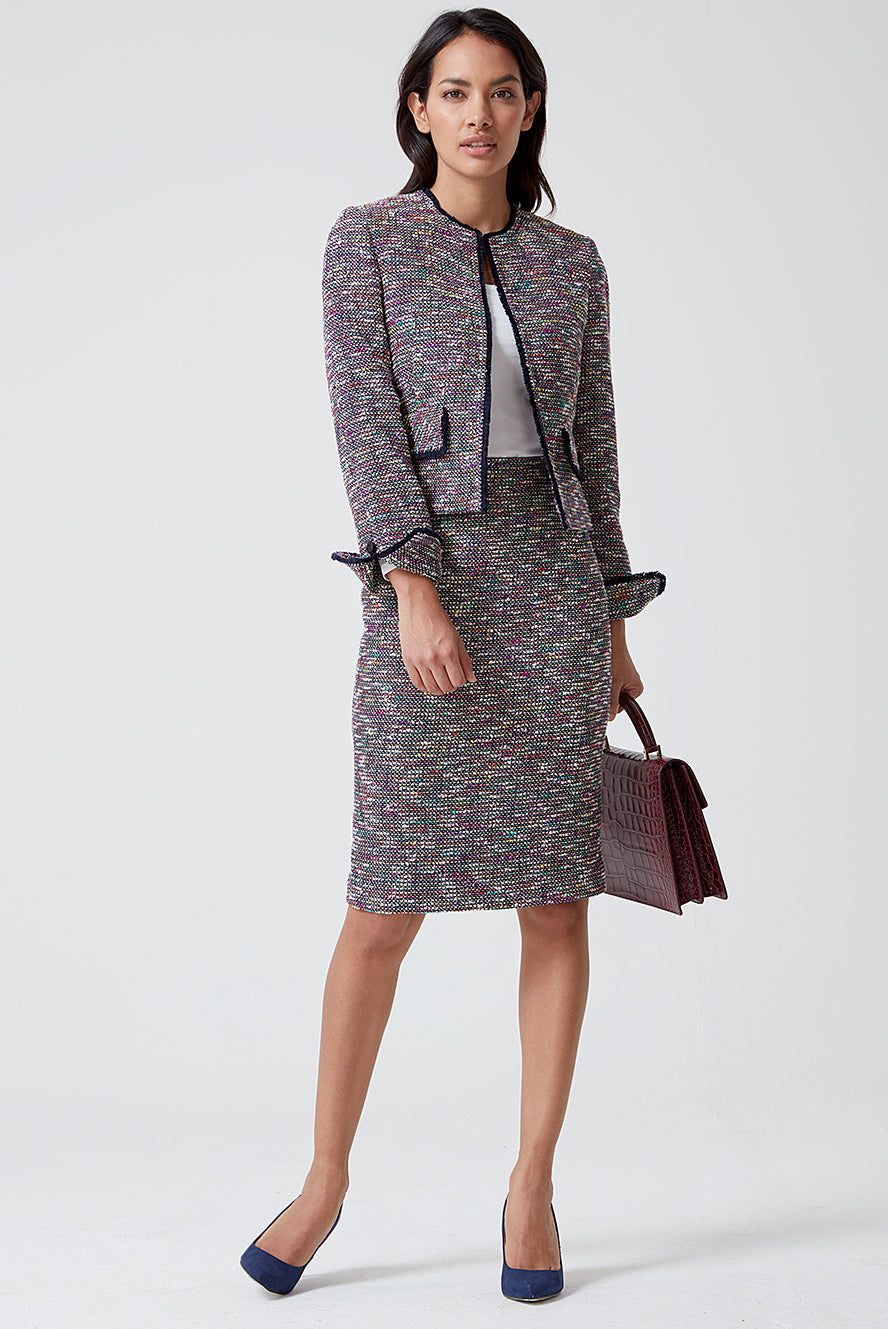 Navy/Multi-Coloured All Over Tweed Skirt - Penny