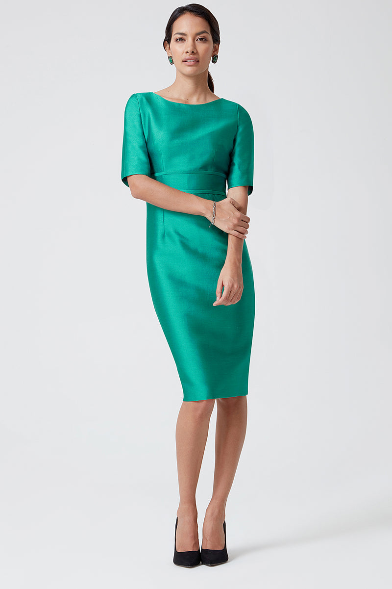 Emerald Sateen Dress - Anita