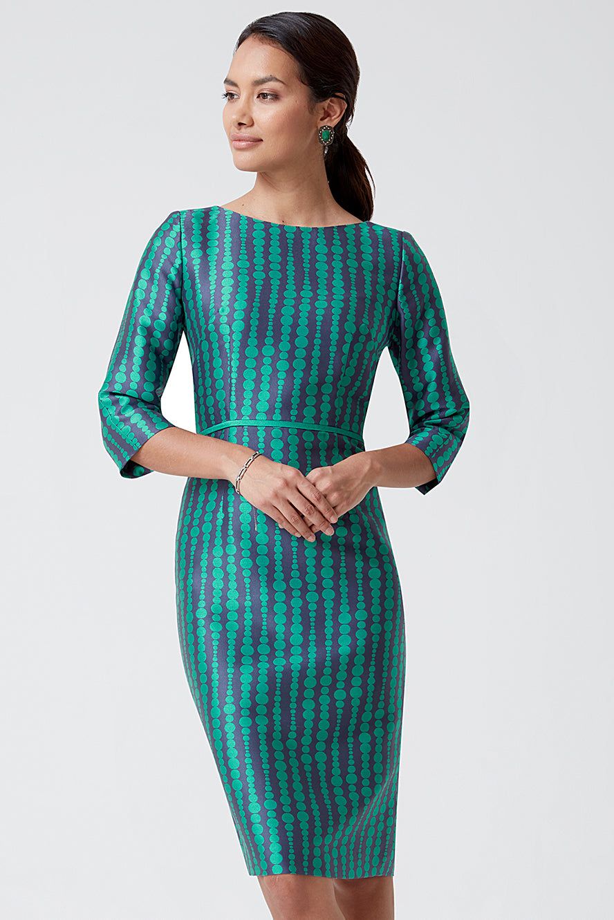 Emerald/Navy Dot Stripe Dress - Angela