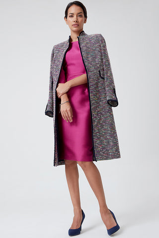 Beige/black/ivory Tweed Coat - Claire