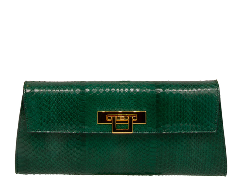 Fonteyn Clutch Snake Skin Leather Handbag - Emerald