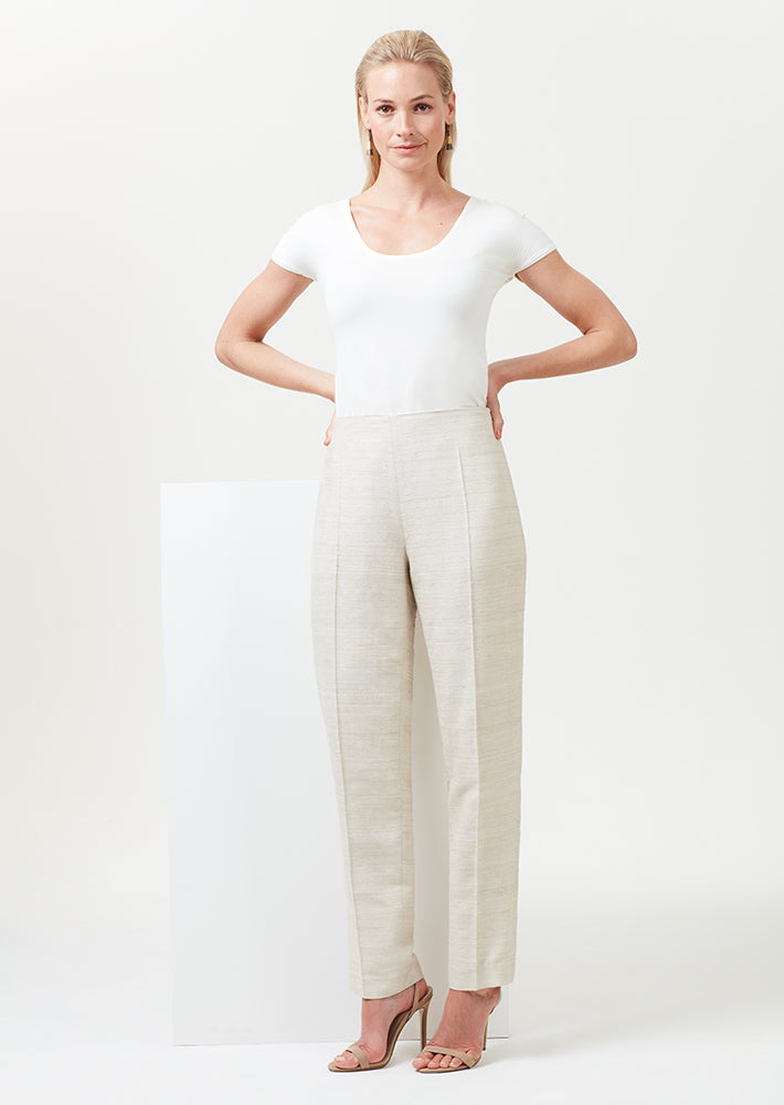 Narrow Leg Trousers in Champagne Raw Silk - Phoebe